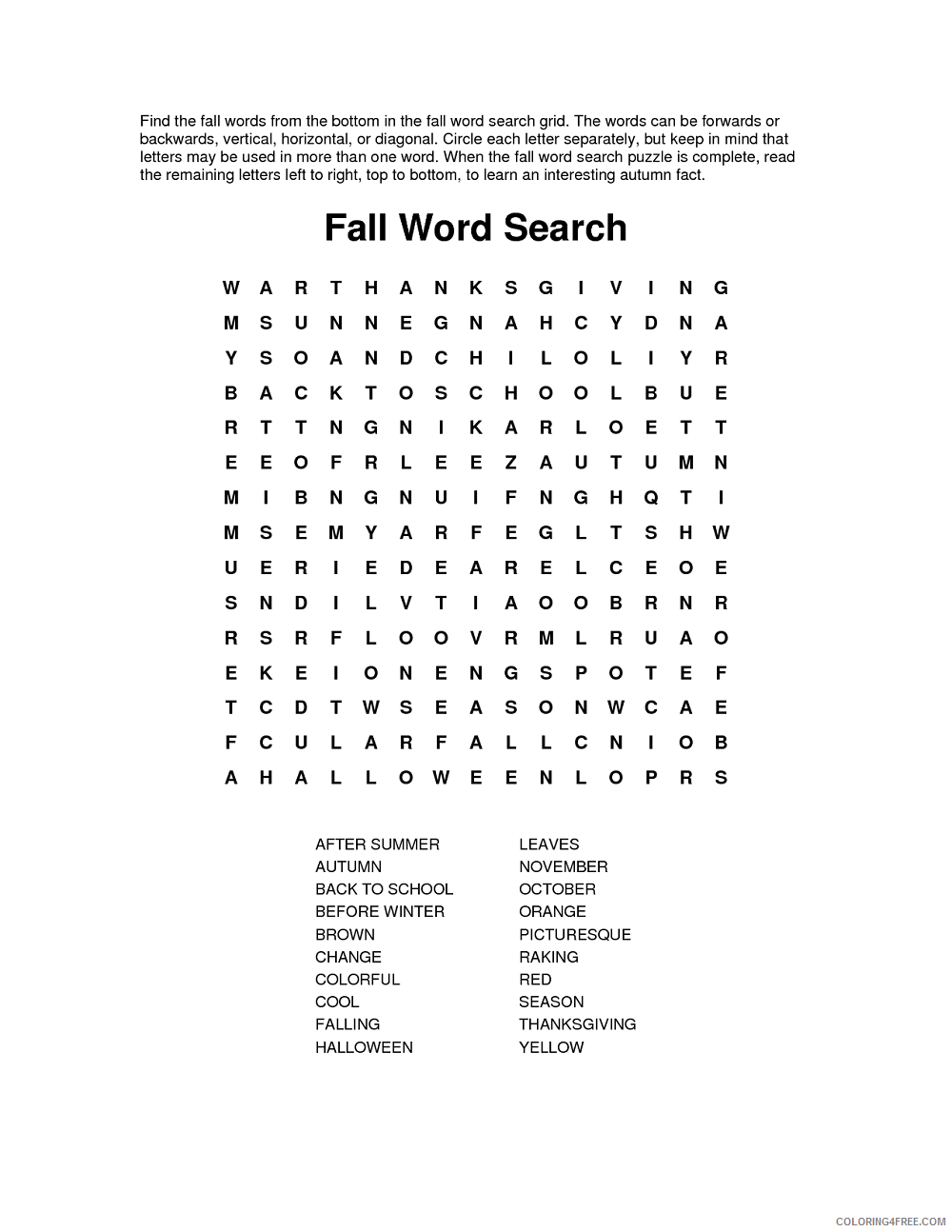 Free Fall Word Search Printable At Vector png