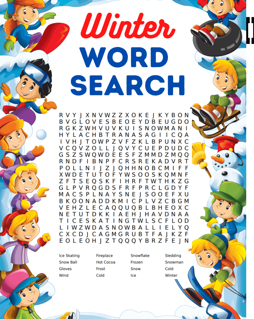 Fun And Free Winter Word Search Printable png