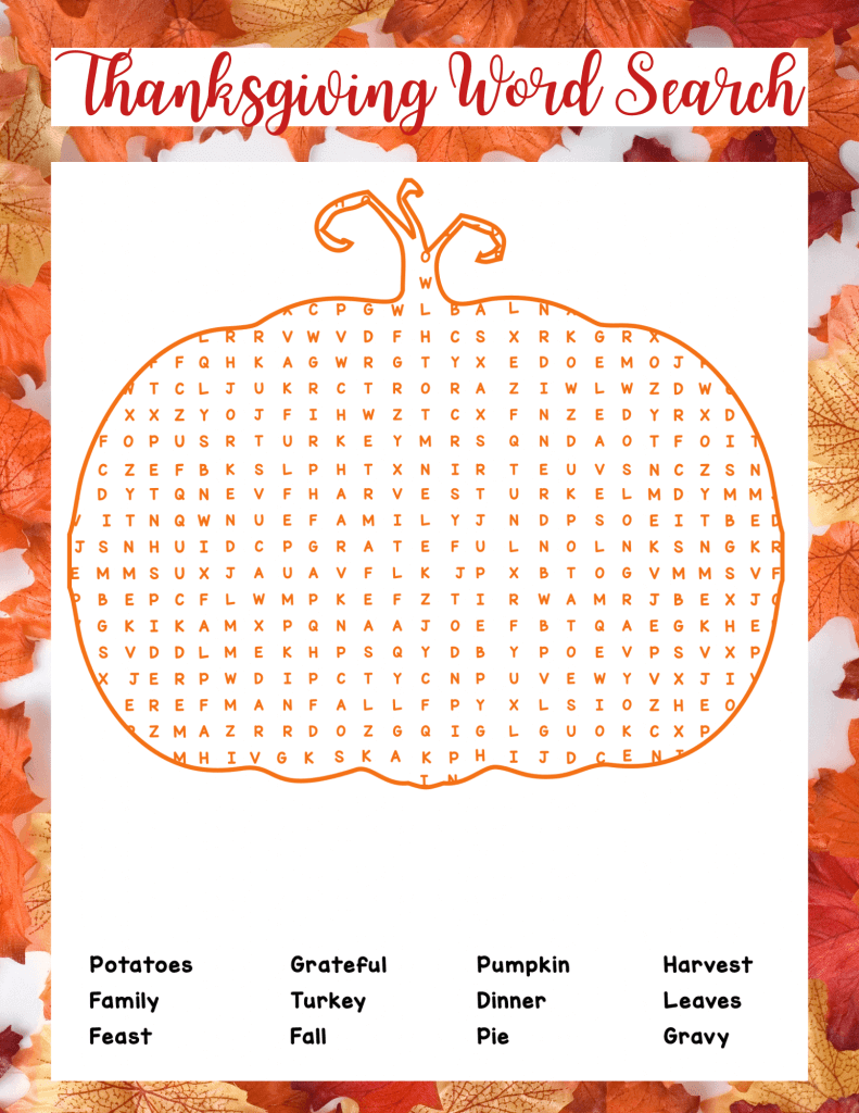 HQ Thanksgiving Word Search Printable Free Download png