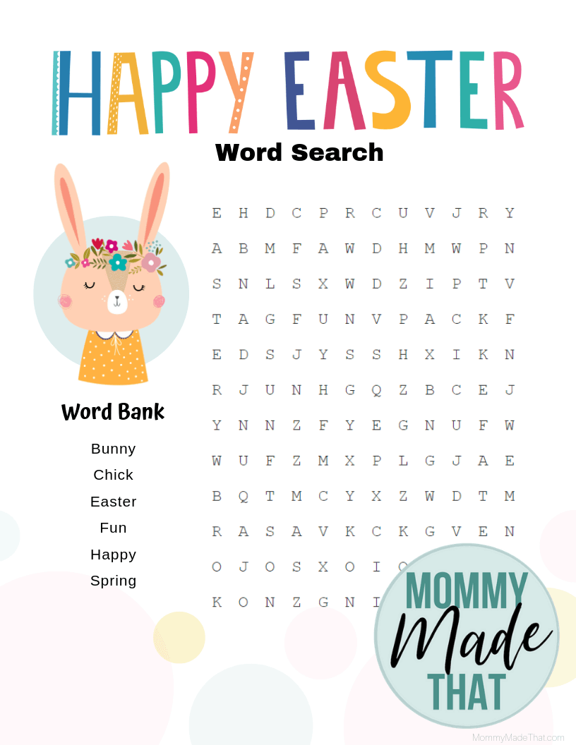 Happy Easter Word Search Printable png