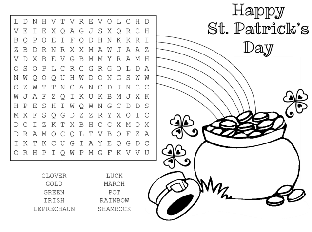 Happy St Patrick's Day Word Search Printable png
