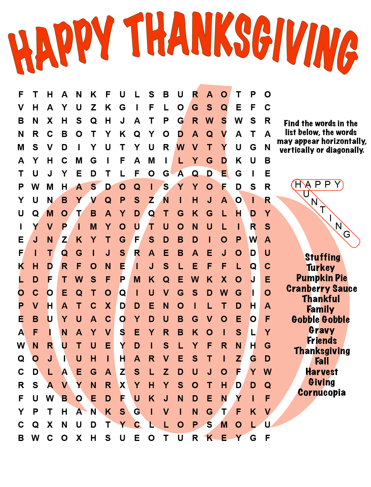 Happy Thanksgiving Word Search Printable png
