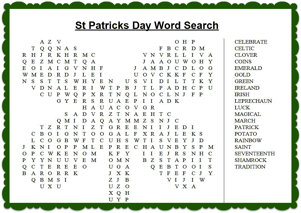 Hd St Patrick's Day Word Search Printable Free Images png
