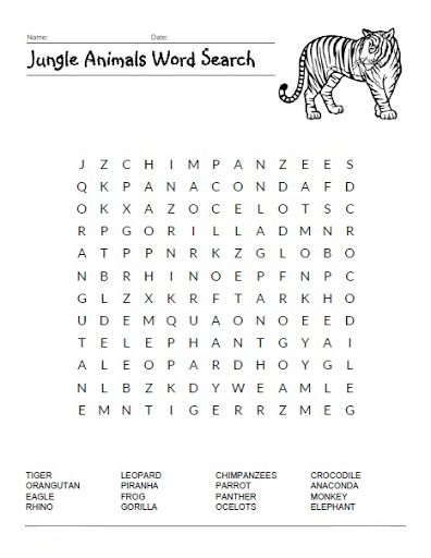 Jungle Animal Word Search Printable png