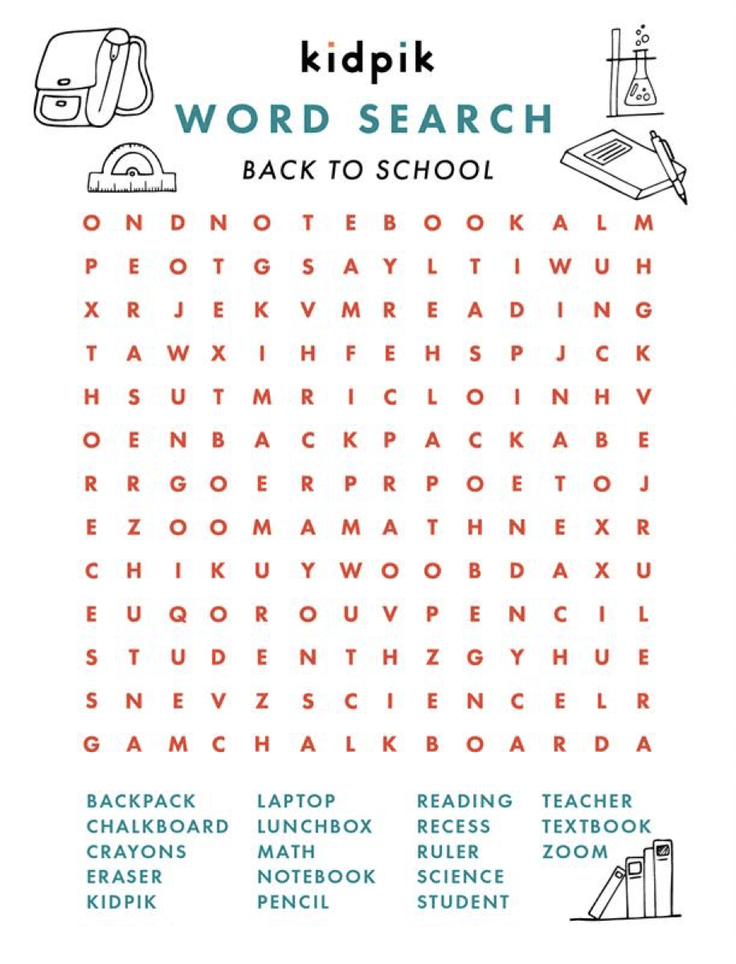 Kidpik Back to School Word Search Printable png