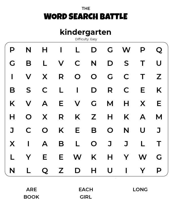 Kindergarten Word Search Printable Difficulty Easy png