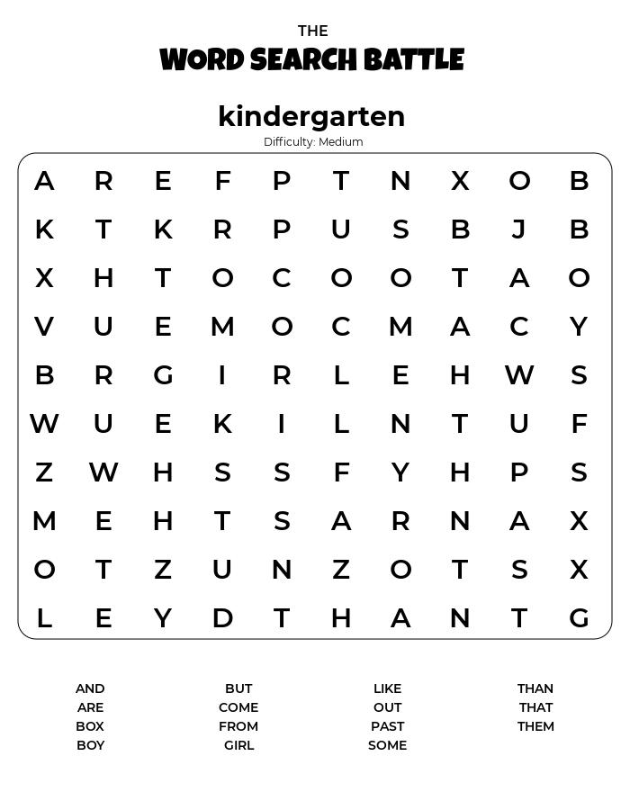 Kindergarten Word Search Printable Difficulty Medium png
