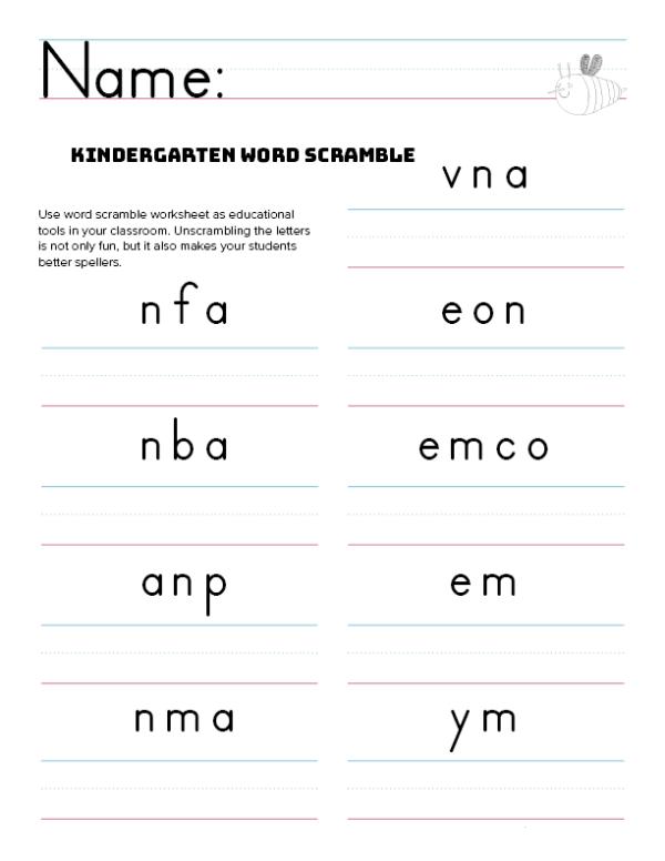 Kindergarten Word Search Printable Scramble Free Idea png