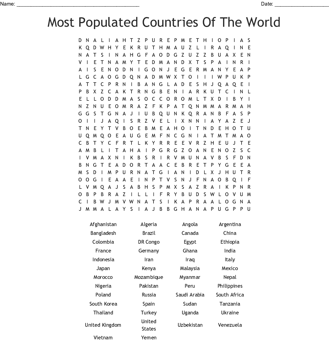 Most Populated Countries Word Search Printable png