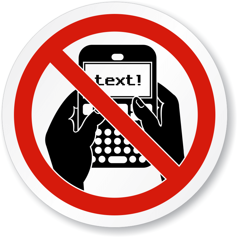 No Texting Prohibited Sign Png
