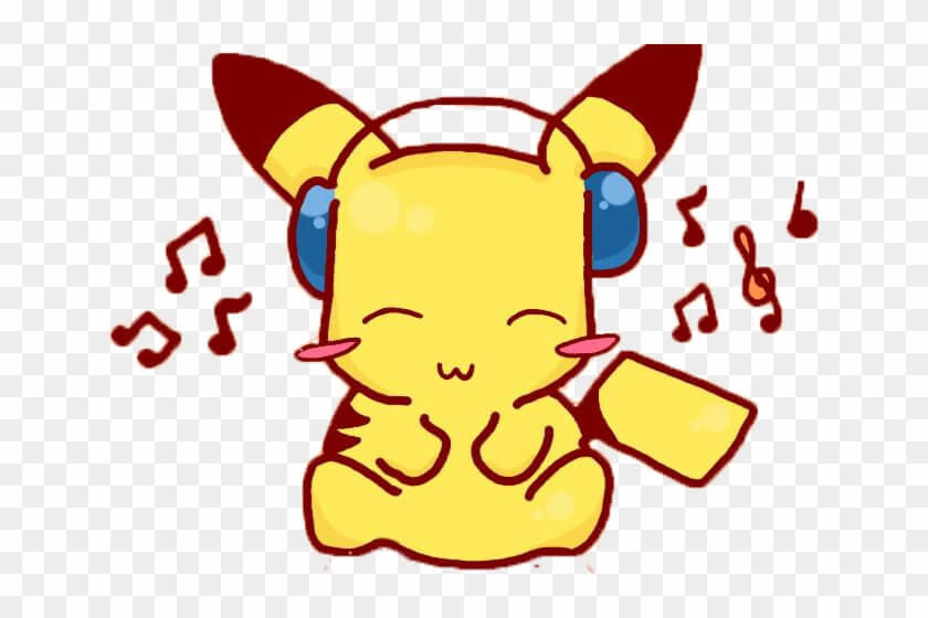 Pikachu Listening To Music Png
