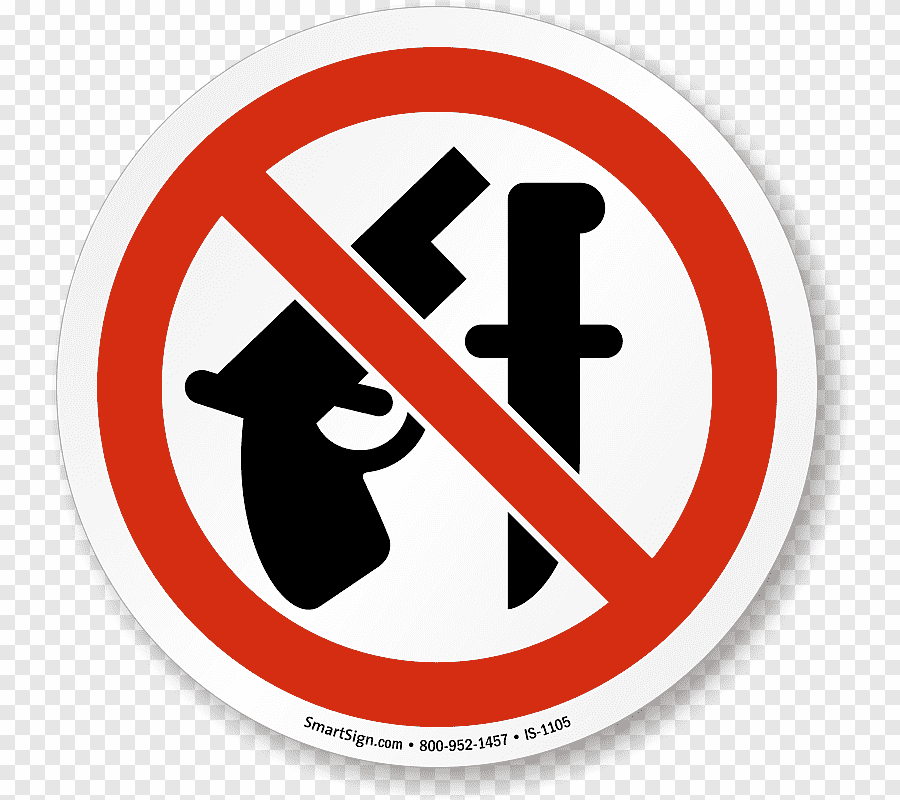 Prohibited Sign Knife And Gun Png