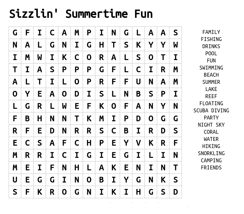 Sizzlin Summer Word Search Printable png
