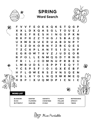 Spring Word Search Printable Free Graphics png
