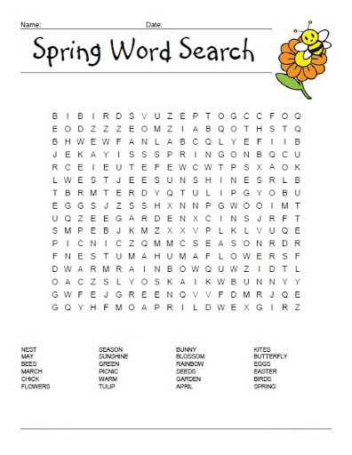 Spring Word Search Printable Free To Use png