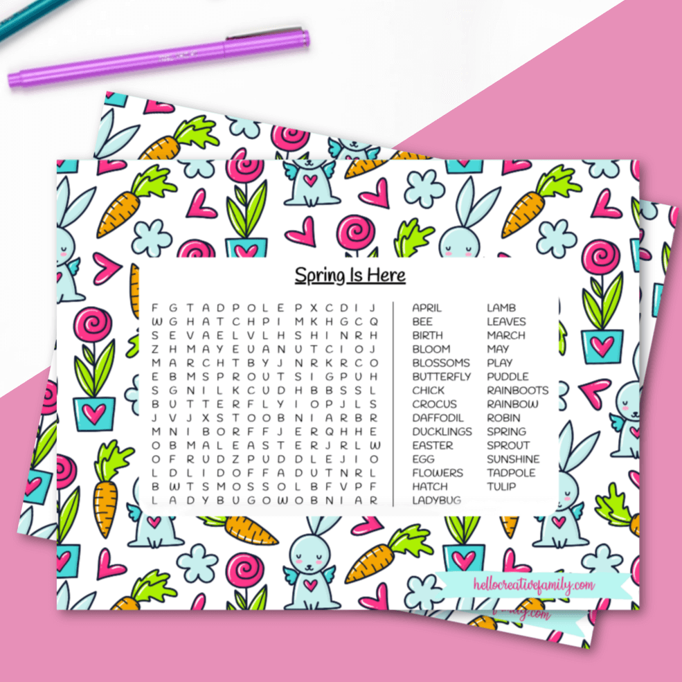 Spring Word Search Printable Is Hear png