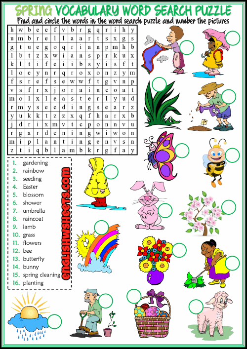 Spring Word Search Printable Vocabulary Word Search Puzzle png
