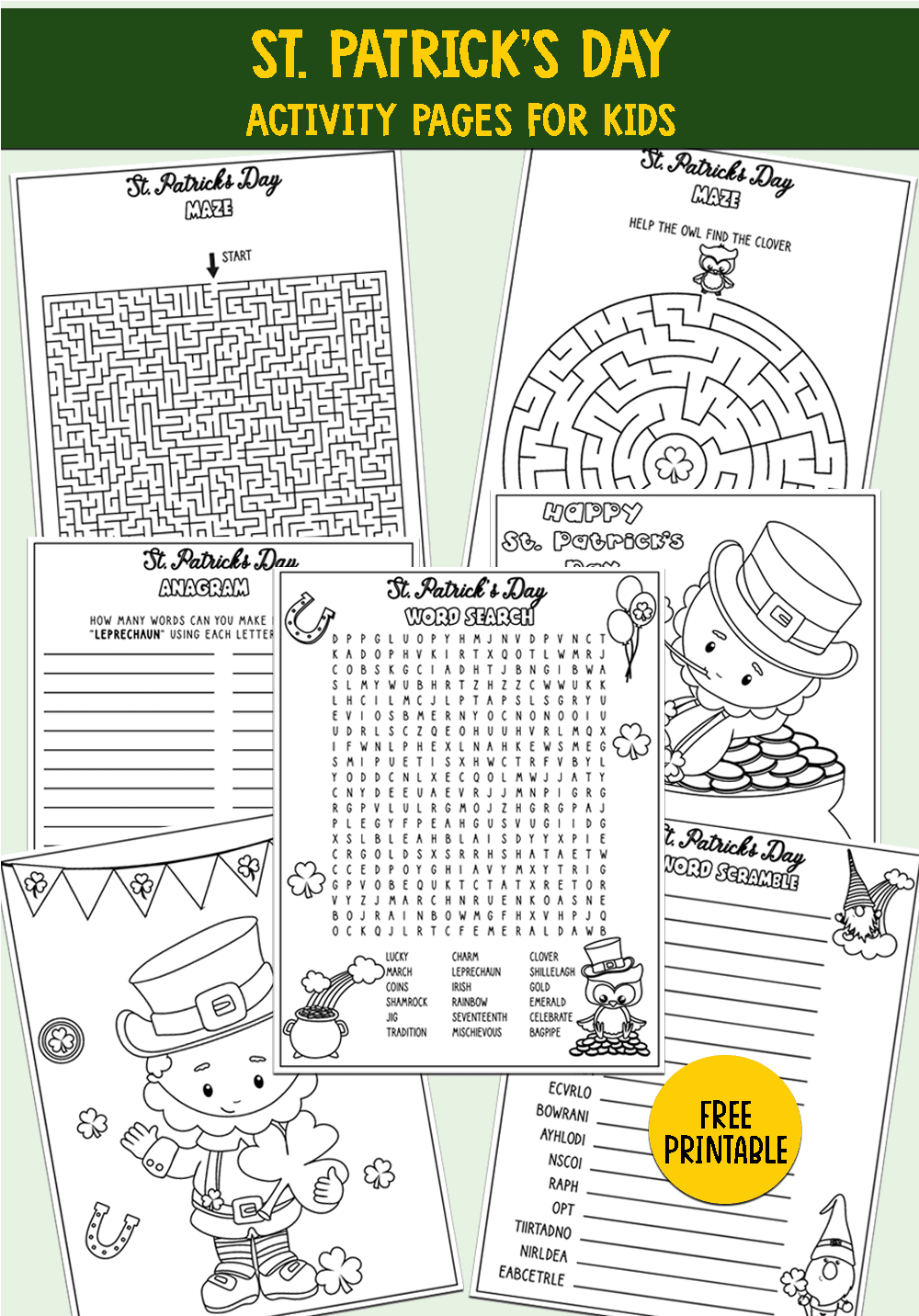 St Patrick's Day Word Search Printable Activity Pages For Kid png