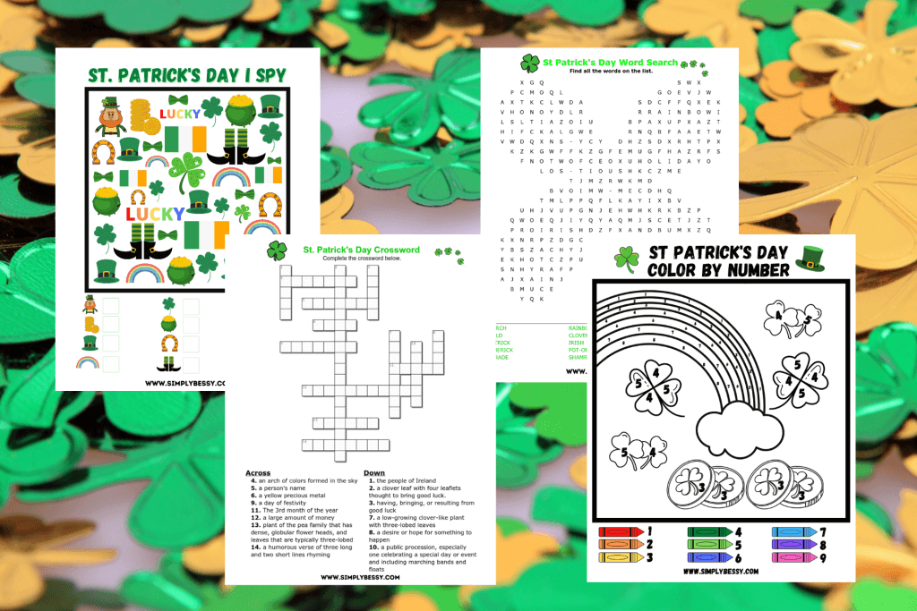 St Patrick's Day Word Search Printable Free Drawing png