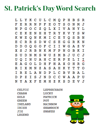 St Patrick's Day Word Search Printable Free Graphics png