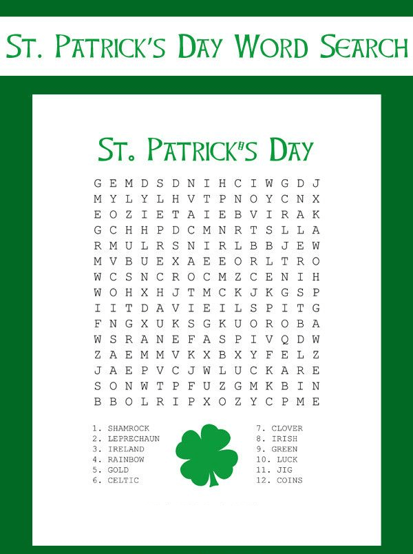 St Patrick's Day Word Search Printable Free Pictures png