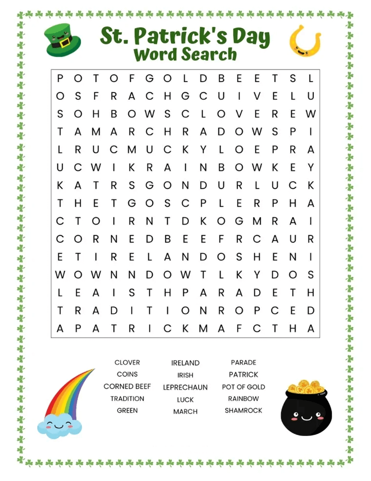 St Patrick's Day Word Search Printable Free To Use png
