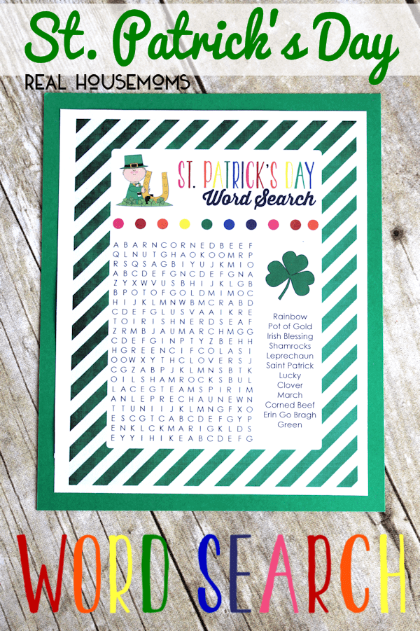 St Patrick's Day Word Search Printable Real Housemoms png