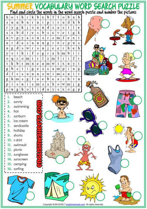 Summer Word Search Printable Free To Use png