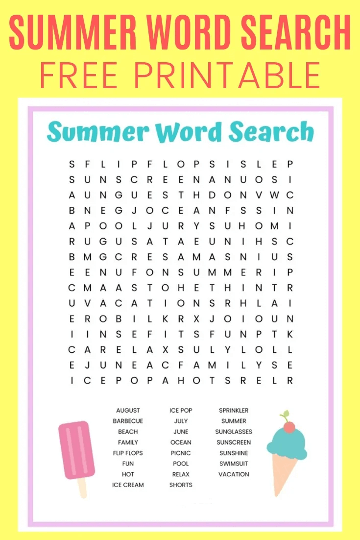 Summer Word Search Printable Ice Cream png