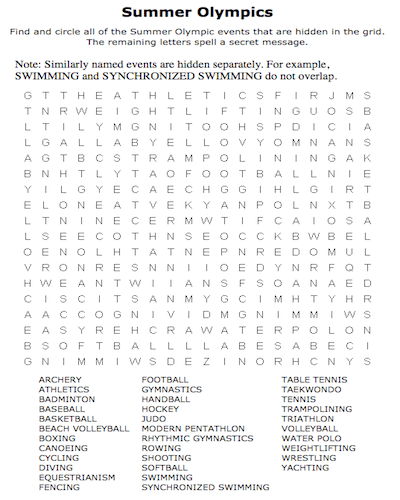 Summer Word Search Printable Olympics png