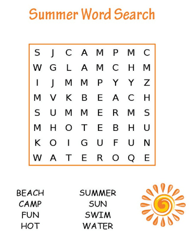 Summer Word Search Printable Sun png