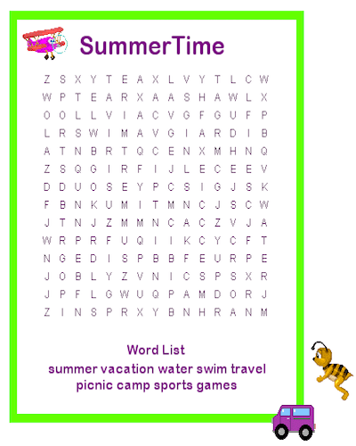 Summer Word Search Printable Time Free Idea png
