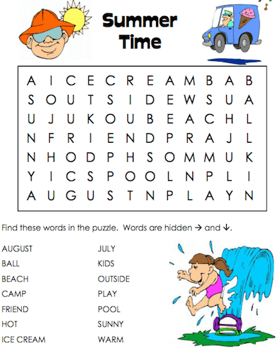 Summer Word Search Printable Time png