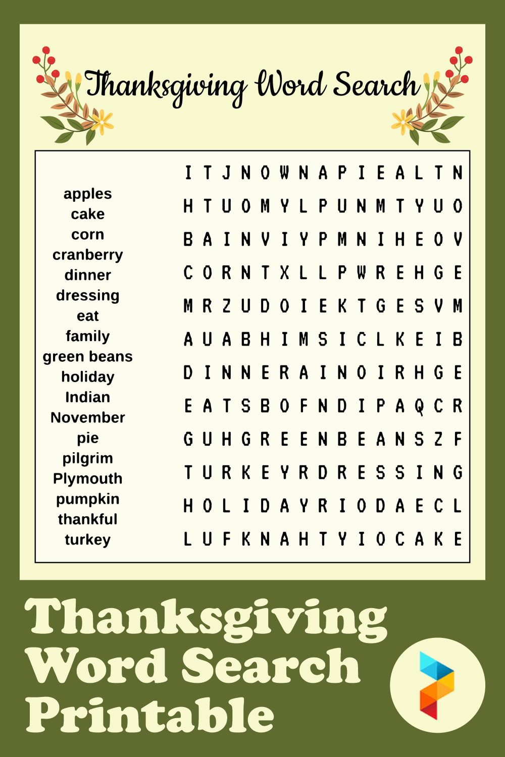 Thanksgiving Word Search Printable Free Photo png