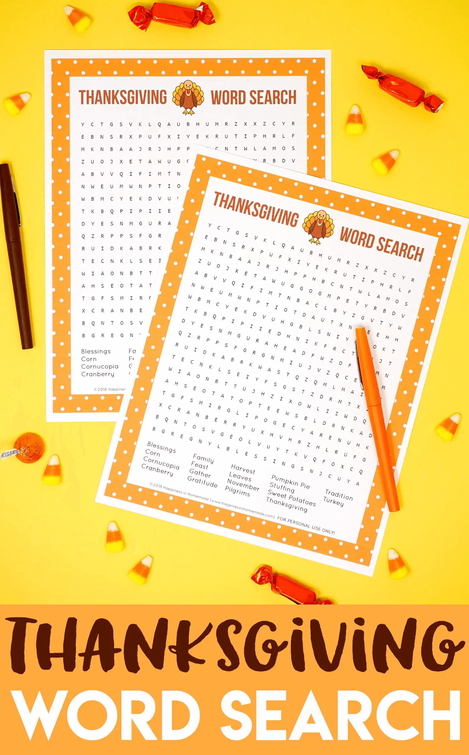 Thanksgiving Word Search Printable Light png