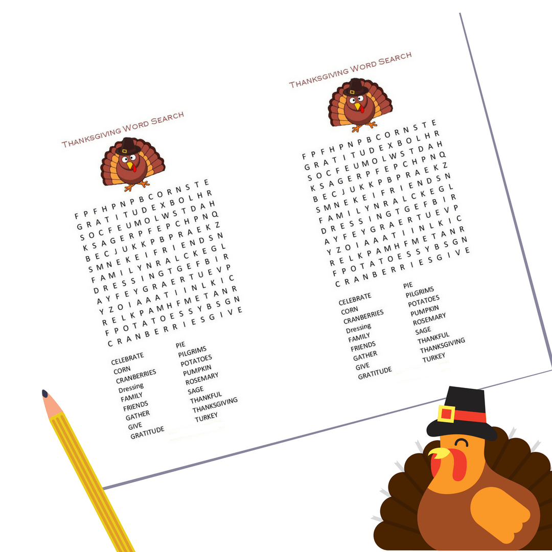 Thanksgiving Word Search Printable Pencil And Turkey png