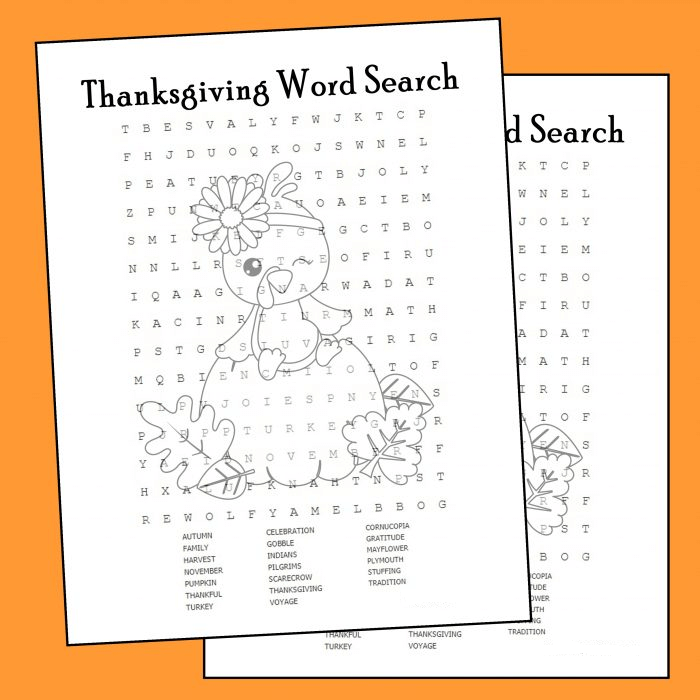 Thanksgiving Word Search Printable Three Color png