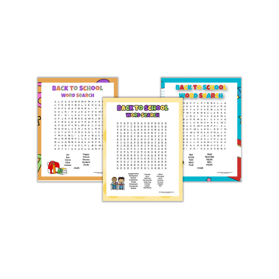 Three Banner Back to School Word Search Printable png