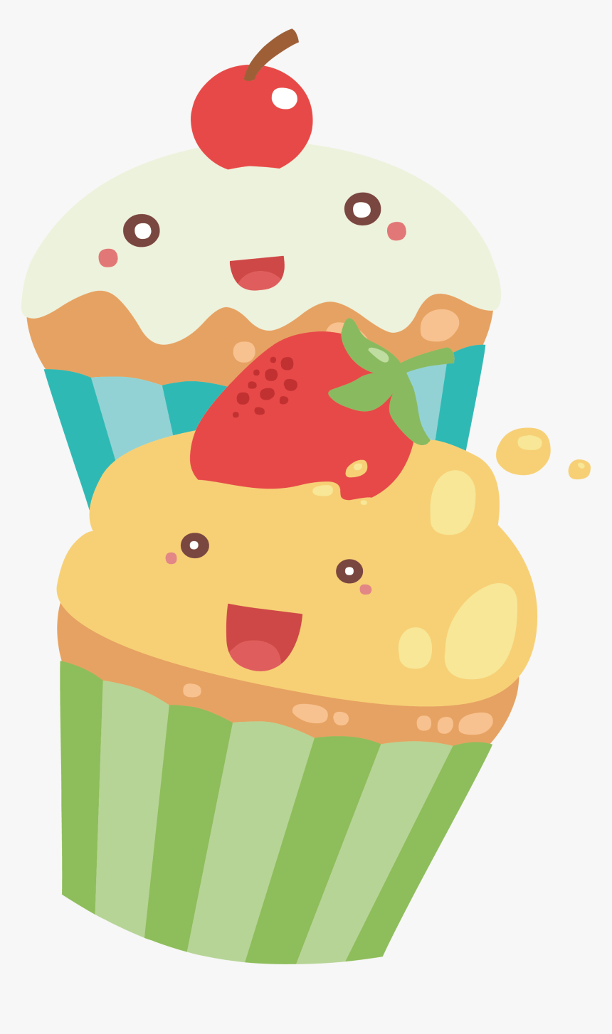 Two Cupcake Kawai Png