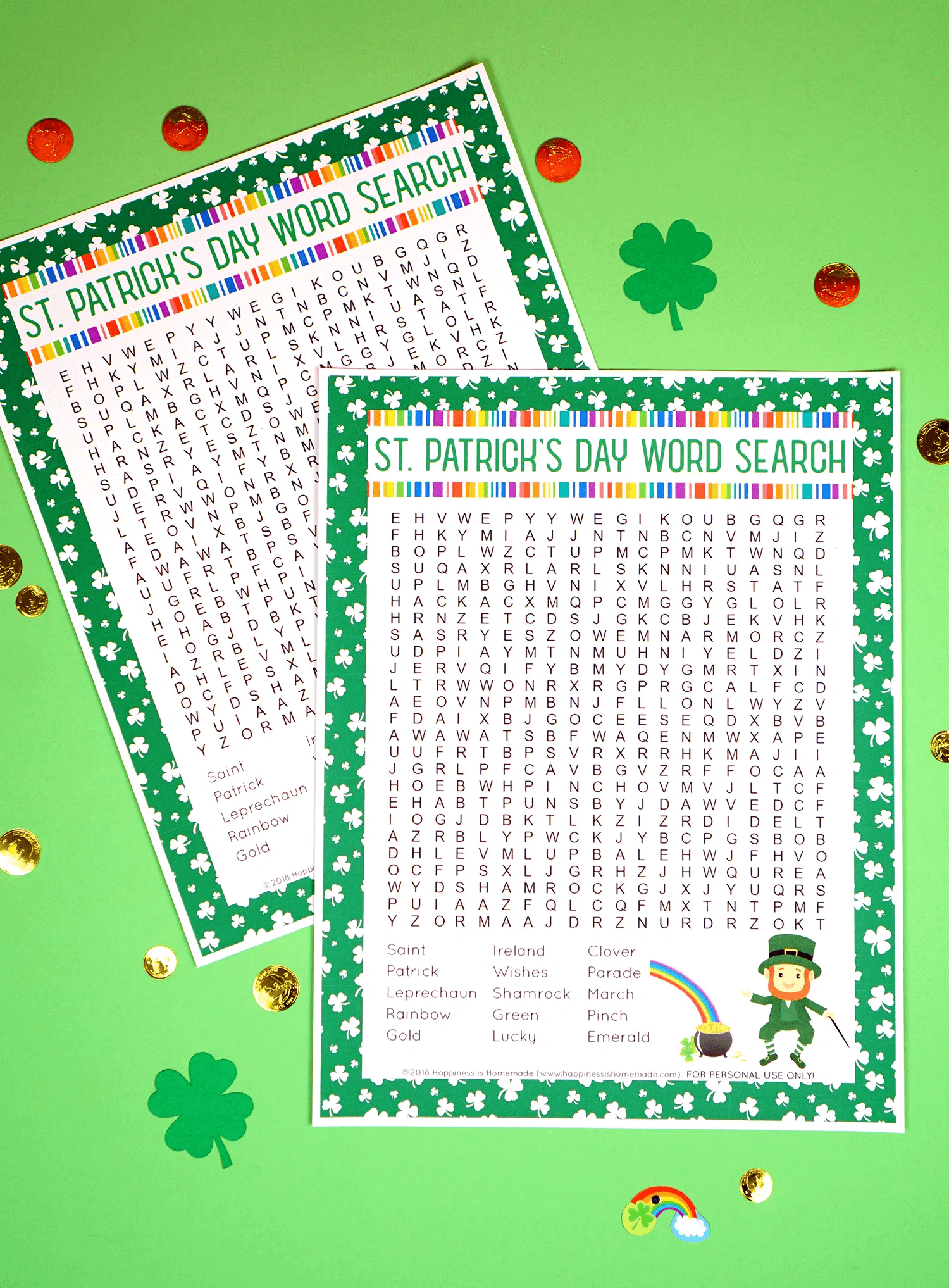 Two St Patrick's Day Word Search Printable png