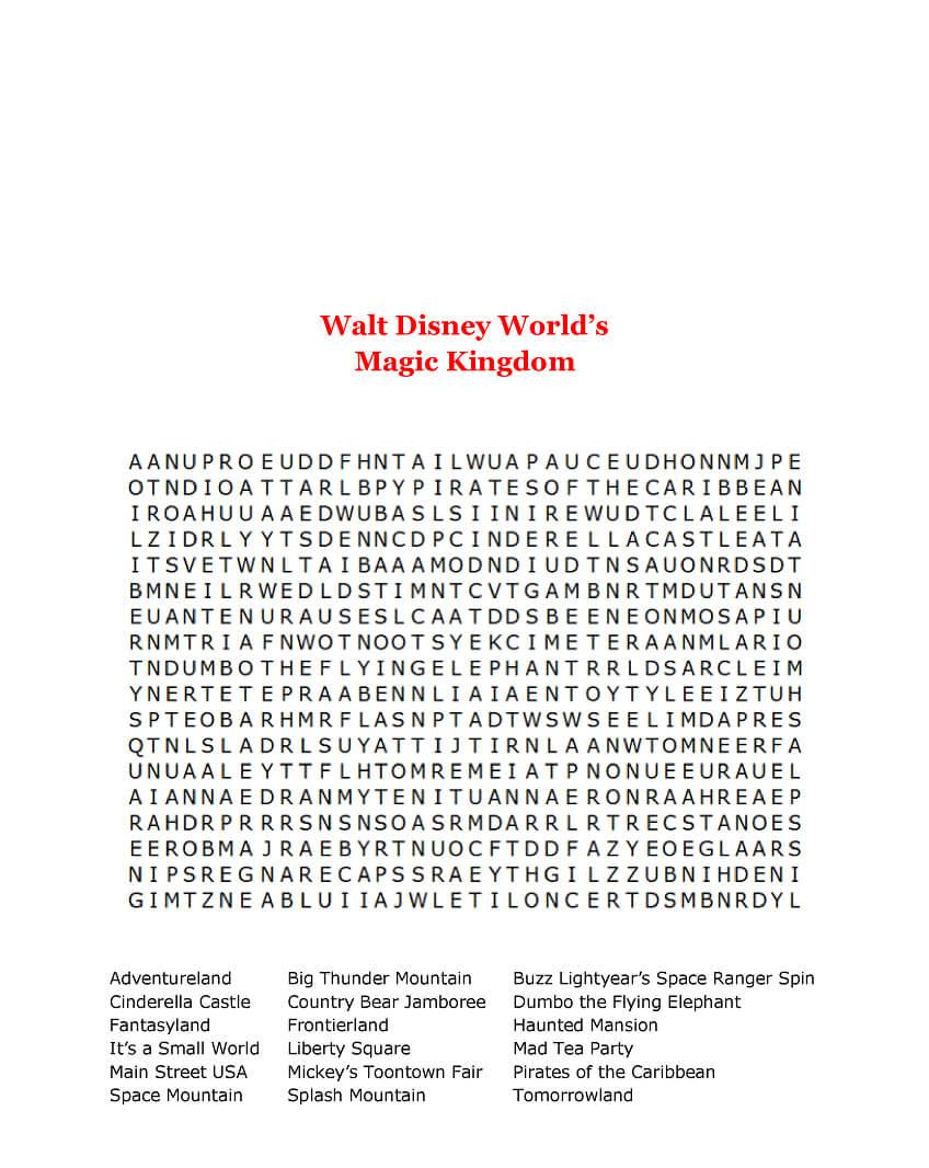 Walt Disney Word Search Printable Magic Kingdom png
