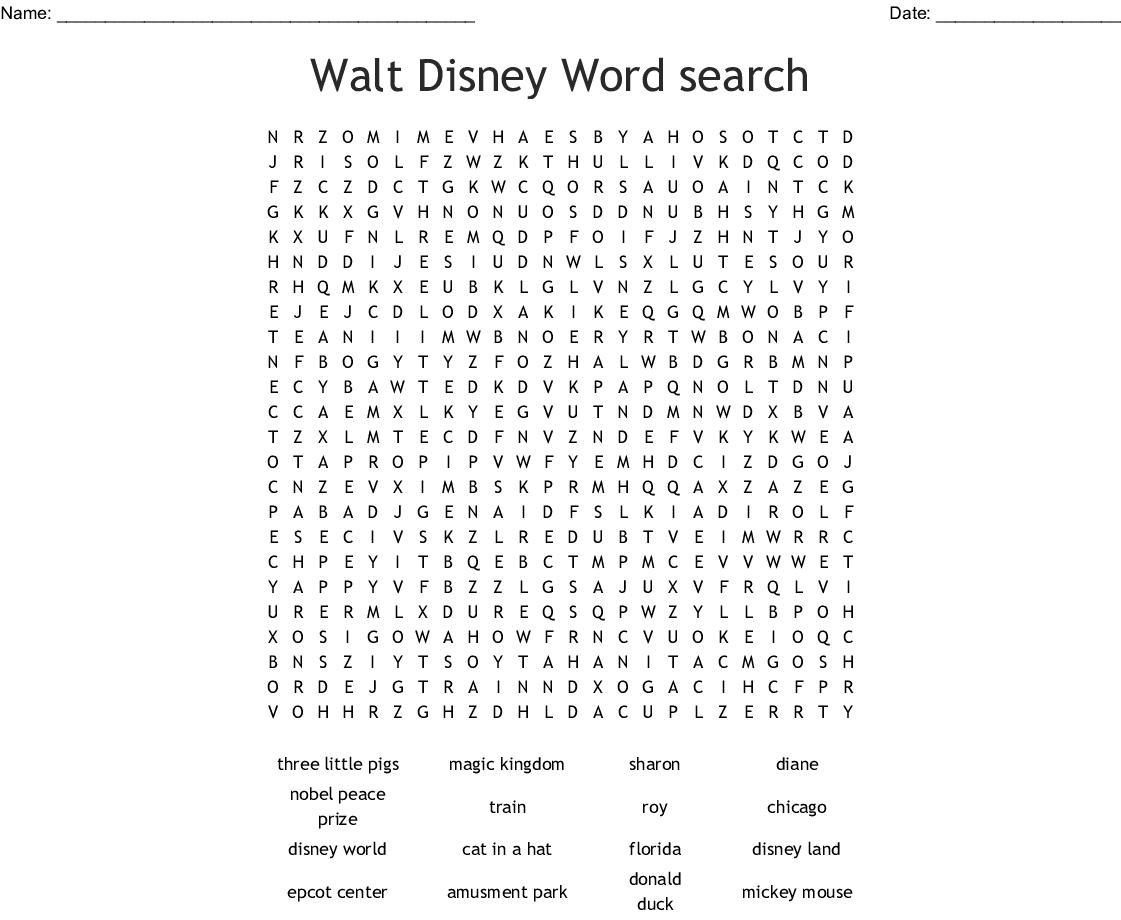 Walt Disney Word Search Printable png