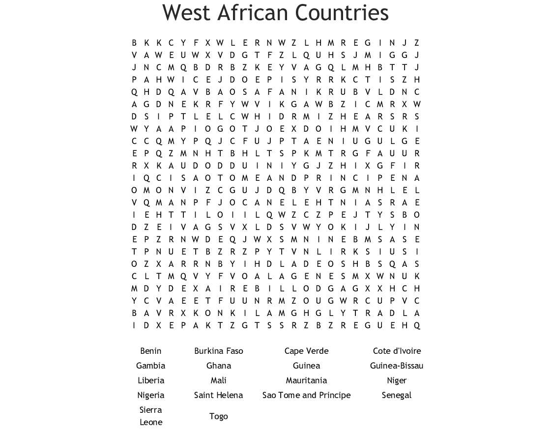 West African Countries Word Search Printable png