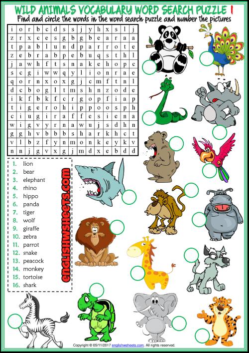 Wild Animal Word Search Printable png