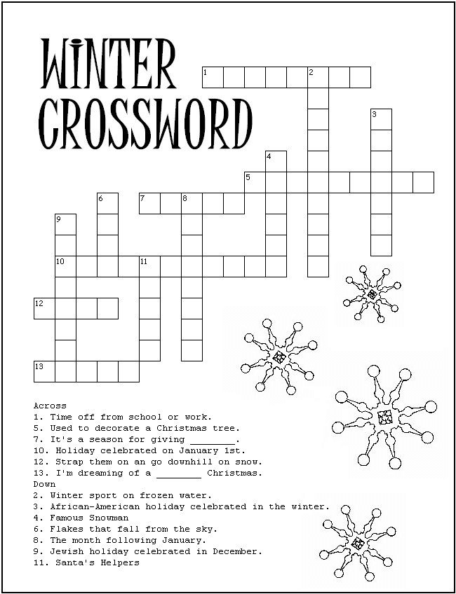 Winter Word Search Printable Crossword png