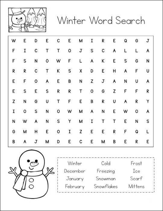 Winter Word Search Printable Cute Snowman png