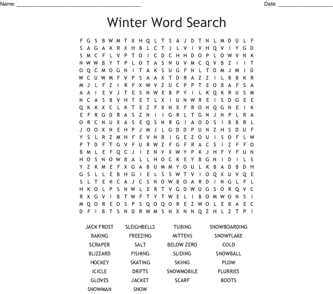 Winter Word Search Printable Free To Use png