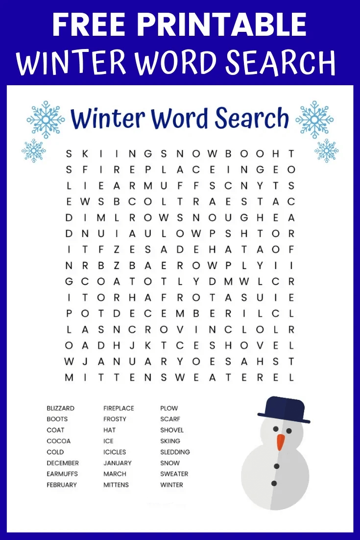 Winter Word Search Printable Indigo And White png