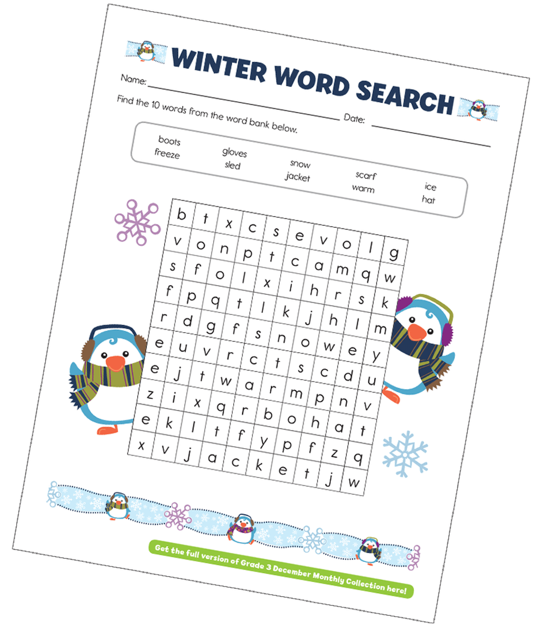 Winter Word Search Printable Penguins png