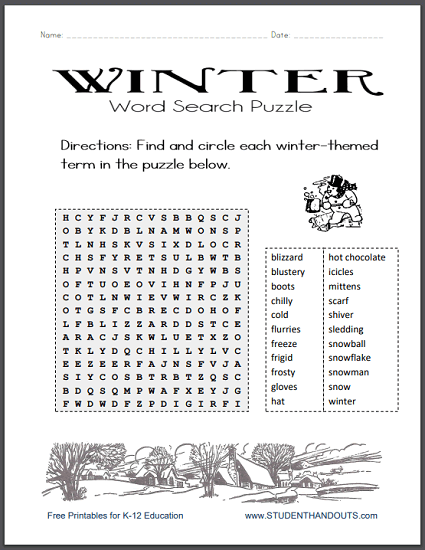 Winter Word Search Printable Puzzle png